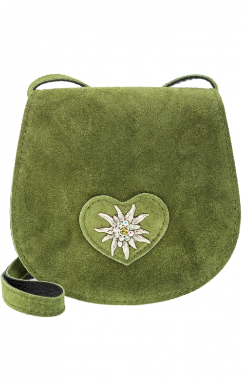 Traditional leather bag with heart natur oliv