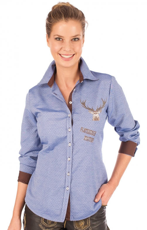 Traditional blouse BELINA jeans blue
