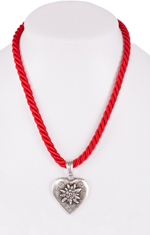 Traditional necklace cord heart K100-8144 red