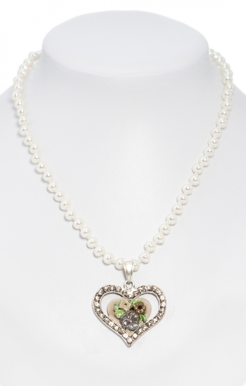 Pearl necklace with heart pendant taupe